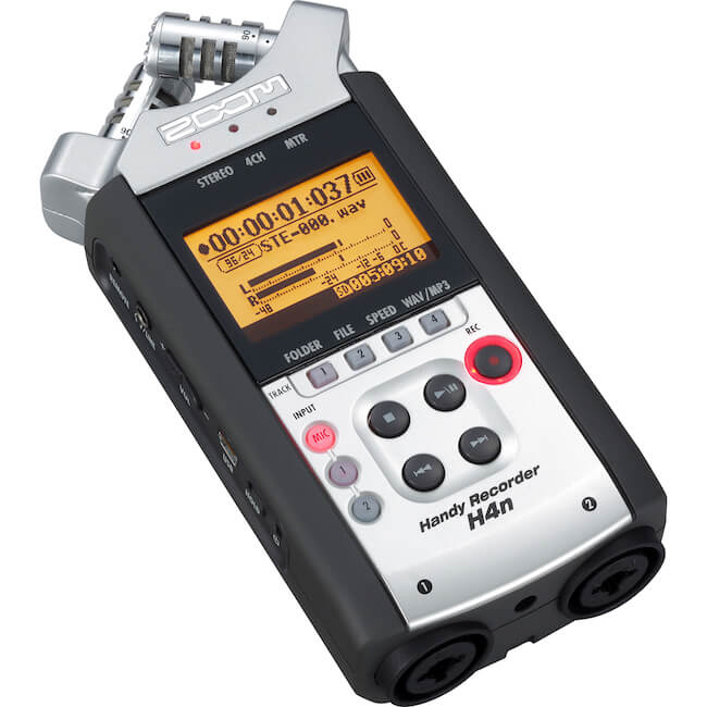 Zoom H4N recorder with a wireless Sennheiser lavalier kit
