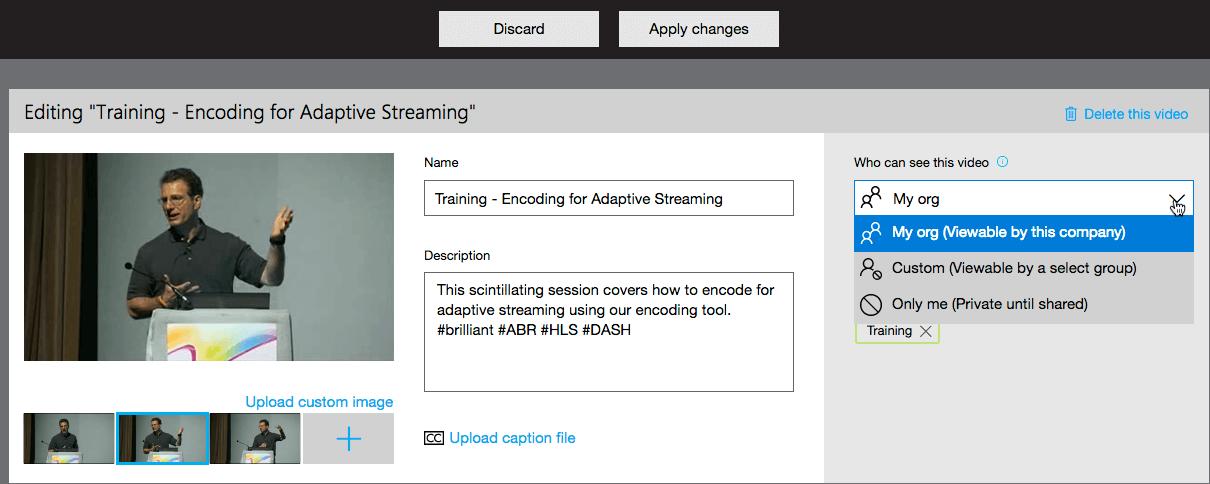 Microsoft Stream configuring a video file