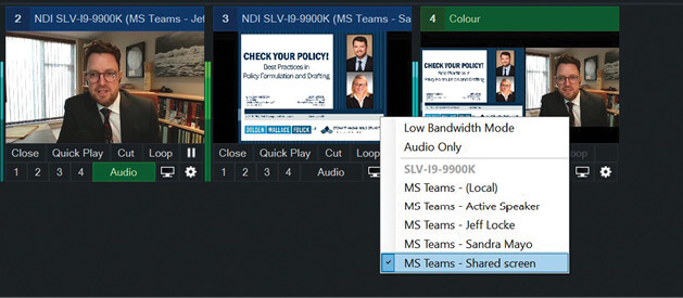 This shows a shared-screen Microsoft Teams input and the ability to switch which source is coming into a specific NDI input in vMix.