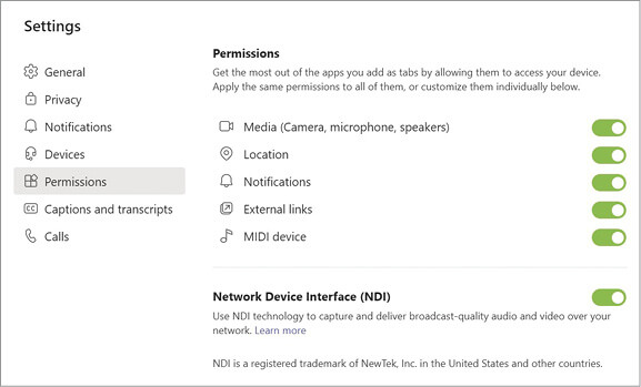 Microsoft Teams Administrator settings to enable NDI to be available in individual meetings