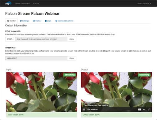 Falcon Live Stream RTMP Caption Encoder