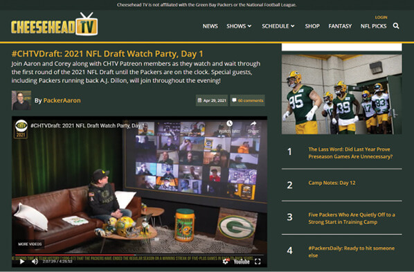 Cheesehead TV Draft Watch Party