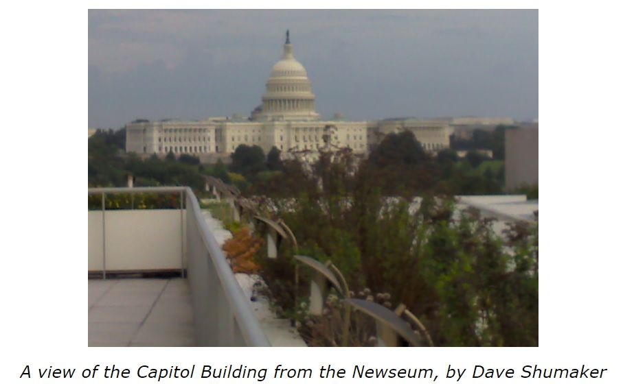 a view of the Capitol Building from the Newseum