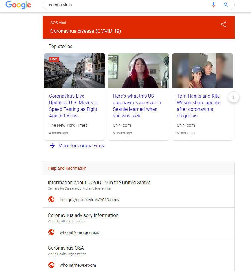Google search for coronavirus