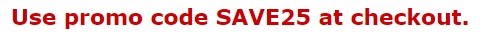 SAVE25 promo code