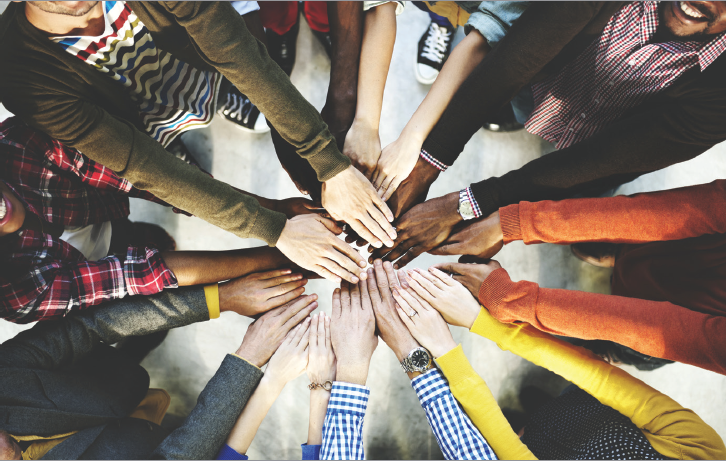 """Shutterstock image example, """"Group of Diverse Hands Together Joining Concept"""""""