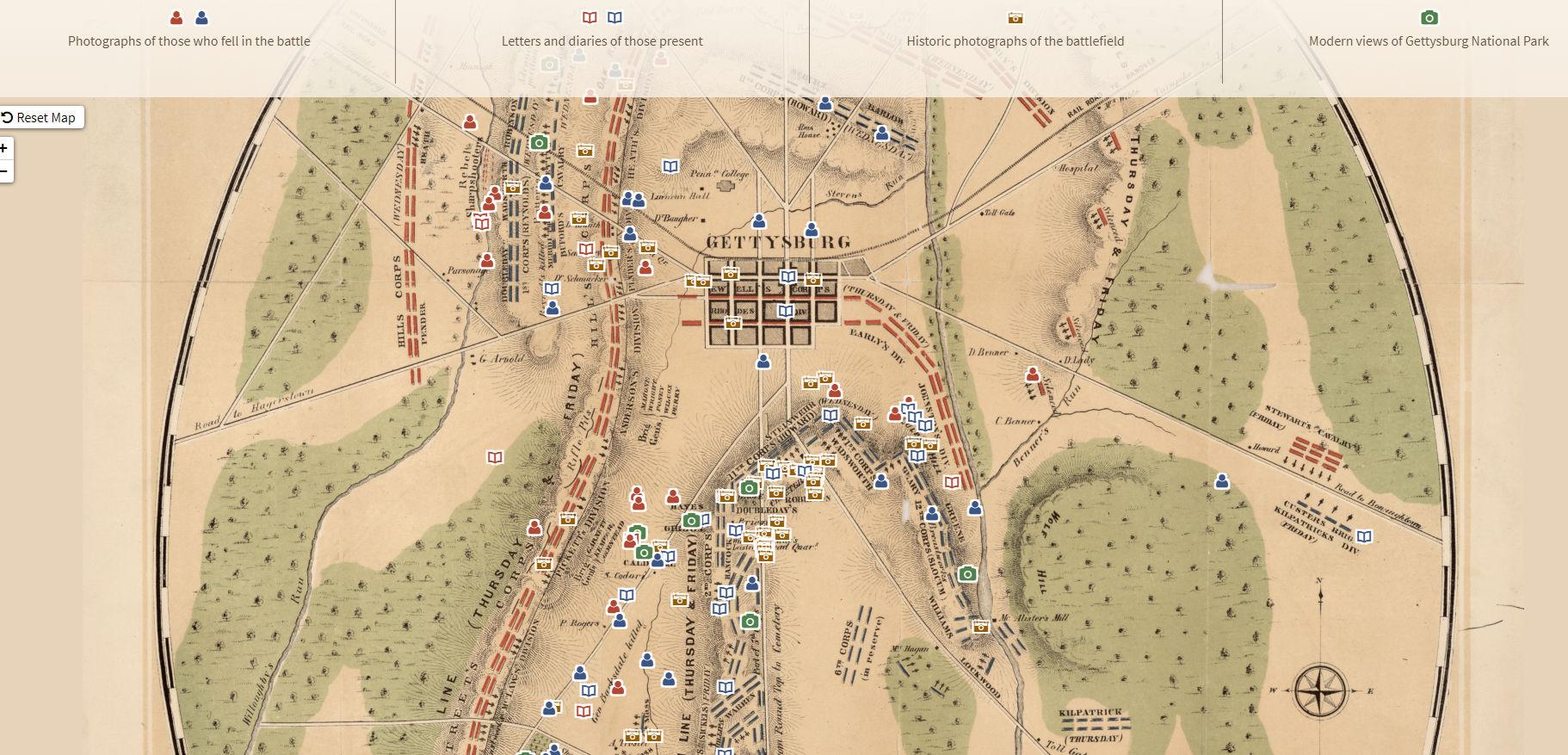 map of Gettysburg from Adam Matthew Digital